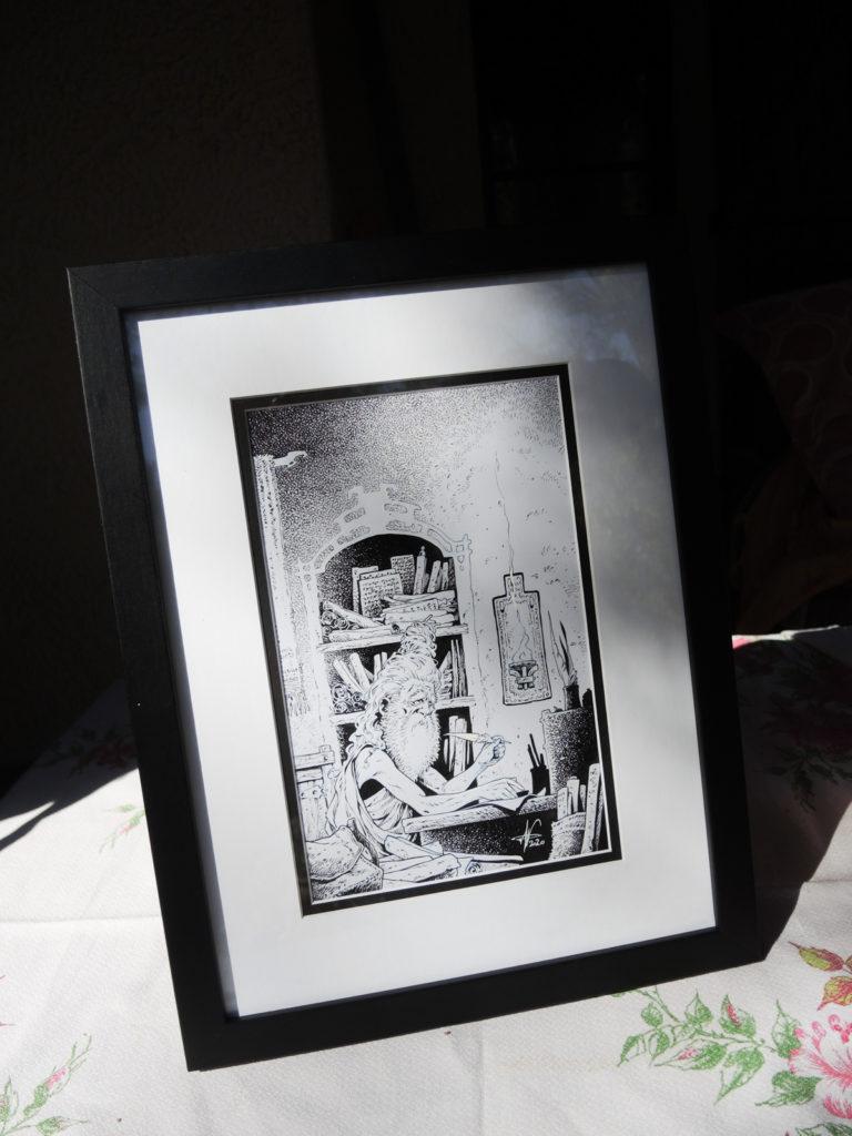 Frontispice Pradhi pour l'édition noir et blanc du tome 1 de Sheïd, encadré